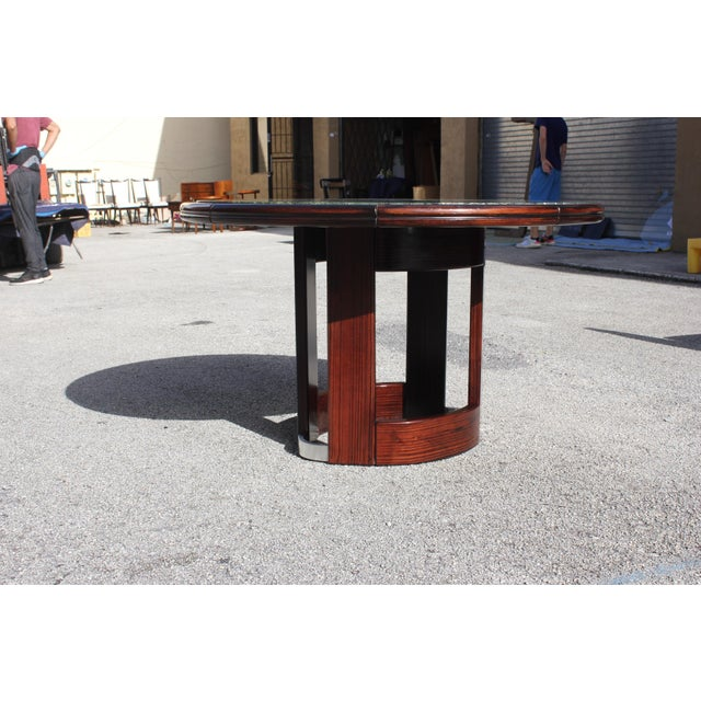 Bronze French Art Deco Macassar Ebony Round Center Table With Green Marble Top For Sale - Image 7 of 13