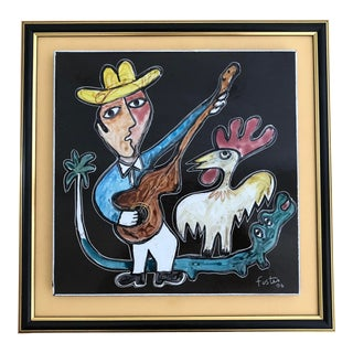 Jose Fuster Latin American Naive Abstract Rooster Painting For Sale