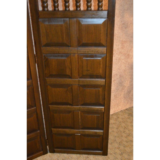 1970s Vintage Jacobean Style Wood Room Divider For Sale - Image 5 of 13