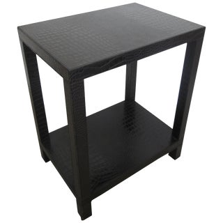 French Black Embossed Crocodile Style Leather End Table For Sale