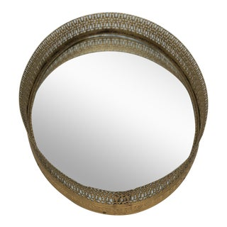 Vintage Oval Mirrored Tray For Sale
