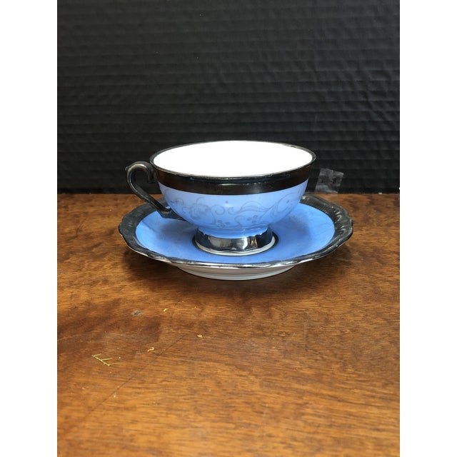 Ceramic Victorian Kerman Blue & Silver Tea and Coffee - Set of 18 For Sale - Image 7 of 10