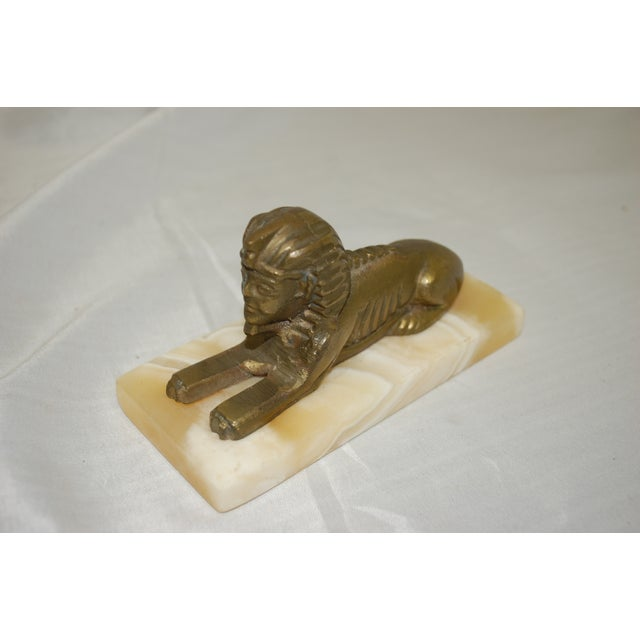 1950s Brass Sphinx on Agate Base Paperweight - Image 2 of 3