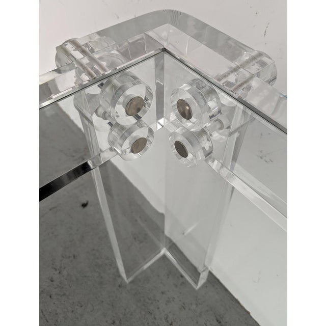 Mid-Century Modern Lucite Side/Cocktail Tables With Glass Tops - a Pair For Sale - Image 11 of 12