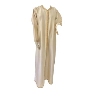 Moroccan Elegant Luxury Dupiono Silk Caftan Gown Maxi Dress For Sale