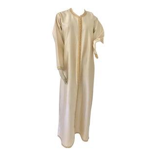 Moroccan Elegant Luxury Dupiono Silk Caftan Gown Maxi Dress For Sale
