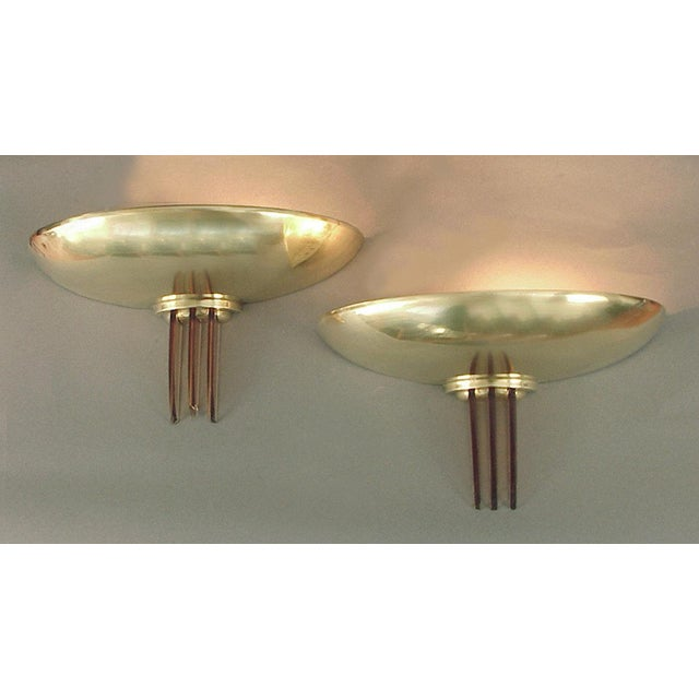 Sublime Solid Brass French Art Deco/Moderne Wall Sconces with Peach Glass Fins For Sale - Image 4 of 4