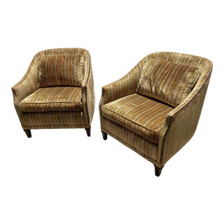 Tomlinson's Curved Velvet Sophisticate Line Chairs - a Pair For Sale