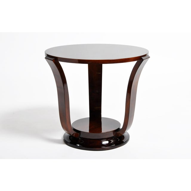 2010s Hungarian Walnut Veneer Round Side Tables - a Pair For Sale - Image 5 of 13