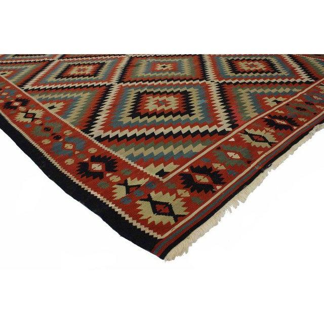 Black Forest Vintage Turkish Kilim Rug With Southwest Style Flat-Weave Rug - 6′11″ × 9′8″ For Sale - Image 3 of 4