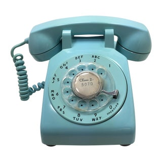 1963 Date Match Blue Rotary Dial Phone