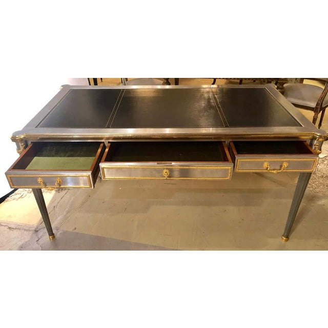 French Maison Jansen Stainless Steel Nickel-Plated Bronze Desk or Bureau Plat For Sale - Image 4 of 12