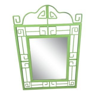 Mid 20th Century Vintage Chinoiserie Green Greek Key Mirror For Sale