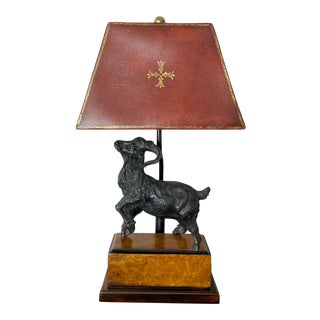 Bronze Ram Table Lamp With Embossed Leather Shade For Sale