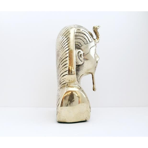 Boho Chic Vintage Brass King Tut Pharaoh Statue For Sale - Image 3 of 10