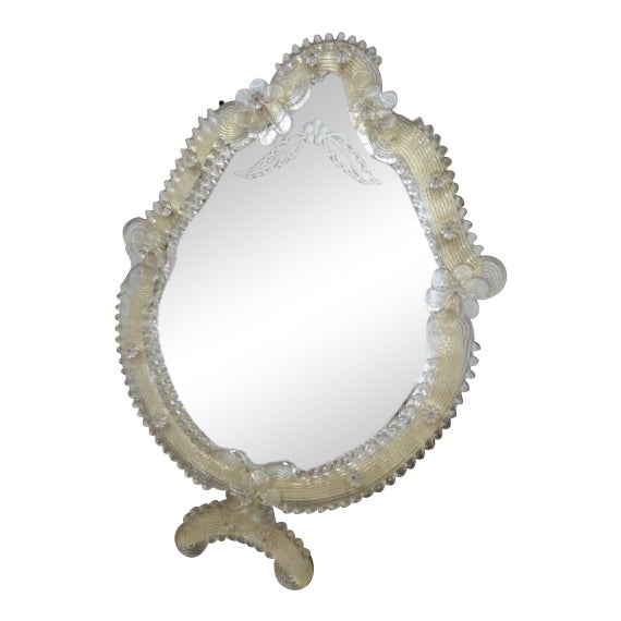 1900 Vintage Antique Venetian Glass Table/Wall Mirror For Sale