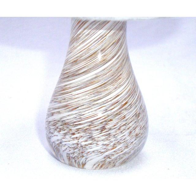 Murano Art Glass Brown White Swirl Mushroom - Image 10 of 11