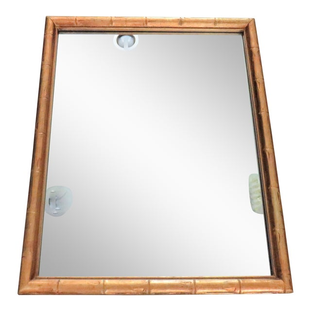 Vintage Palm Beach Style Gilt Faux Bamboo Rectangular Mirror For Sale