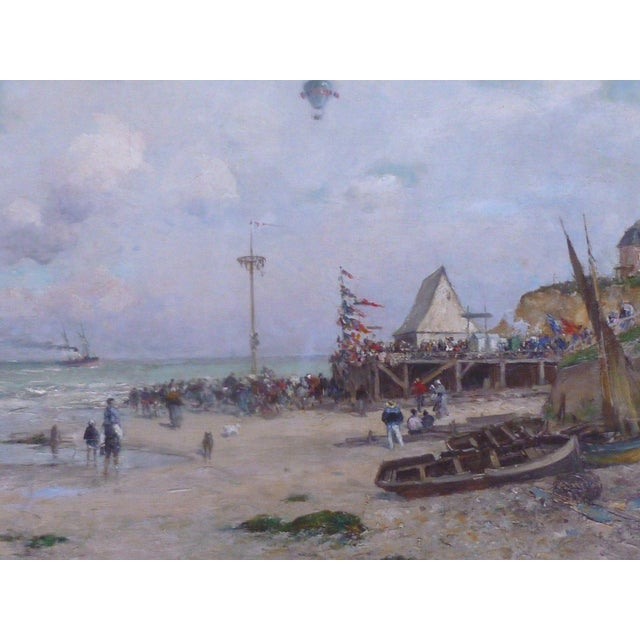 Blue 19th C French Impressionist Coastal Scene W Hot Air Balloon Painting For Sale - Image 8 of 10