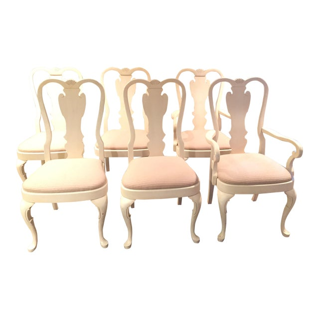 White Wood Dining Chairs - Set of 6 - Image 1 of 11