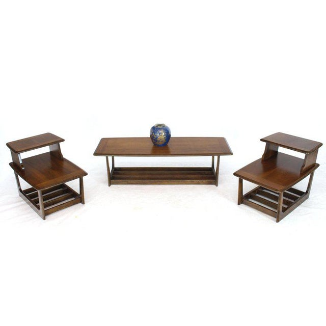 Lane Rounded Rectangle Shape Two-Tier Walnut Coffee Table For Sale - Image 4 of 11
