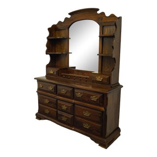 Kincaid Furniture Solid Pine Triple Dresser With Mirrored Hutch For Sale