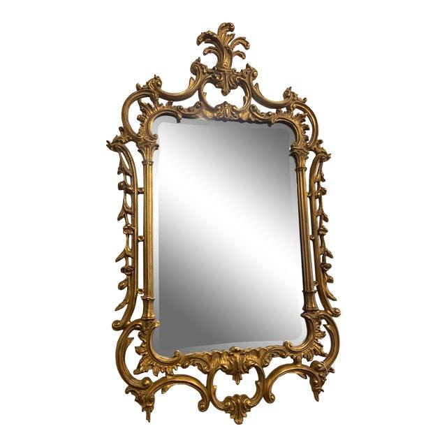 Vintage 1940s Victorian Gilt Gold Mirror For Sale