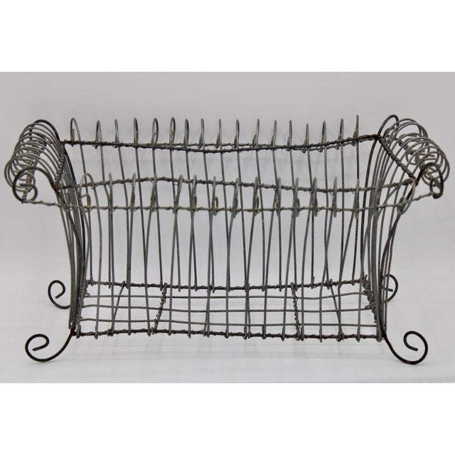 Metal Antique French Jardiniere Footed Wire Basket For Sale - Image 7 of 7