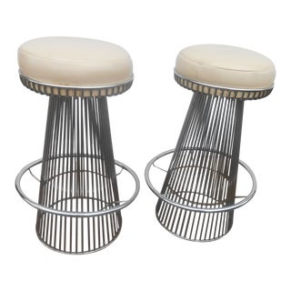 Vintage Mid-Century Modern Warren Platner Knoll Style Chrome Wire Bar Stools - a Pair For Sale