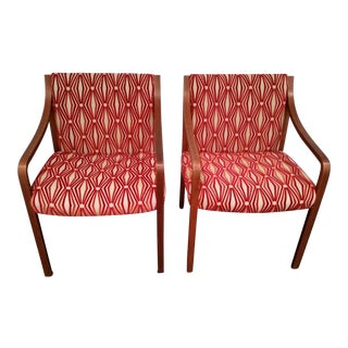 Stow Davis Velvet Geometric Chairs - A Pair For Sale