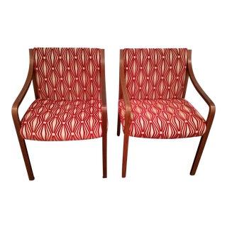 Stow Davis Velvet Geometric Chairs - A Pair