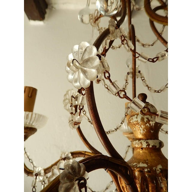 French Baroque Crystal Prisms Swags Old Chandelier For Sale - Image 10 of 11