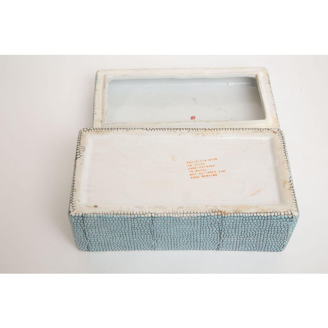 Turquoise Robins Egg Blue Snakeskin Glazed Porcelain Lidded Box For Sale - Image 11 of 13