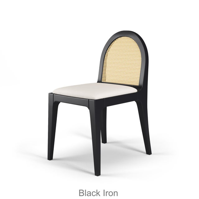 Juliette Dining Chair - Black Iron, Optic White Linen For Sale - Image 4 of 4