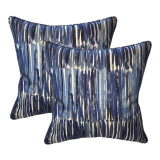 Donghia Down Feather Embroidered Designer Pillows - A Pair