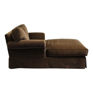 Restoration Hardware Velvet Grand-Scale Roll Arm Chaise For Sale
