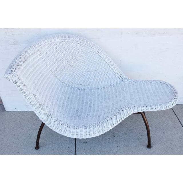 Copper Vintage Modernistic Asymmetric Woven Wicker Chaise Lounge For Sale - Image 8 of 13