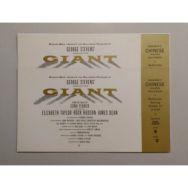 """Asian """"Giant"""" Original 1956 Chinese Theater Hollywood Premiere Tickets - a Pair For Sale - Image 3 of 7"""
