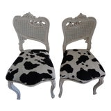 Image of Small White Chairs With Cowhide Seat - A Pair For Sale