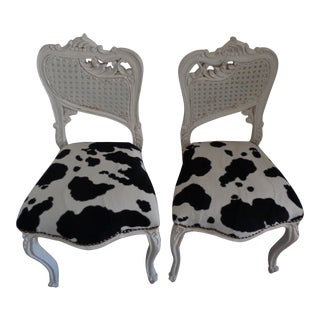Small White Chairs With Cowhide Seat - A Pair For Sale