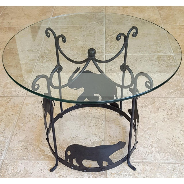 Black 20th Century Figurative Hand Crafted Iron Carousel Side Table For Sale - Image 8 of 8