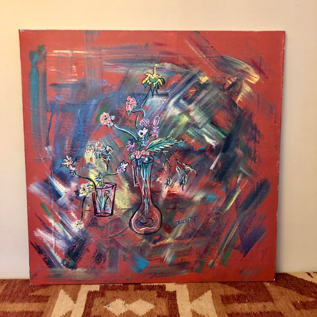 Large Mid-Century Abstract Floral Oil Painting on Canvas For Sale - Image 9 of 9