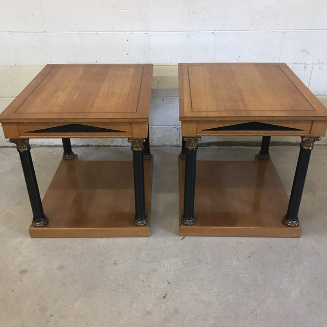 1980s Neoclassical Style Wood End Tables - A Pair For Sale - Image 5 of 11