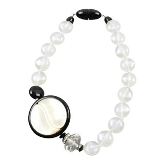 Angela Caputi Sculptural Yin-Yang Black and White Beaded Choker Necklace For Sale