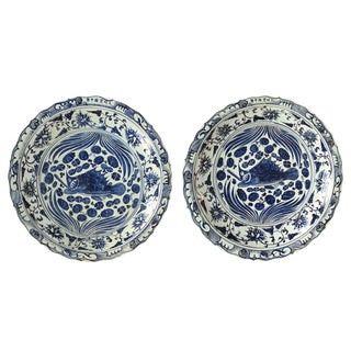 Pair of Monumental Chinese Blue and White Charger Plates For Sale