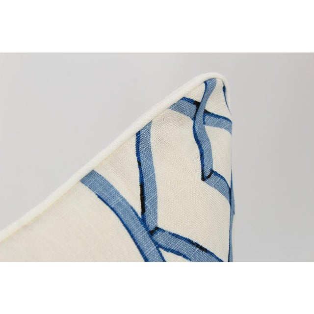 2010s Blue & Ivory Palm Beach Linen Trellis Pillows, a Pair For Sale - Image 5 of 9