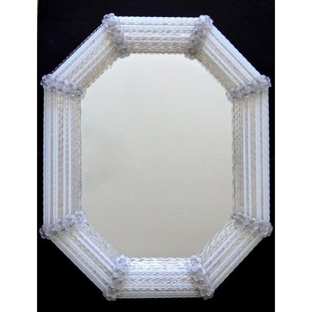 Murano Venetian White Clear Twisted Rod Floral Wall Mirror For Sale - Image 13 of 13