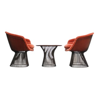 Pair of Warren Platner for Knoll Bronze and Mohair Lounge Chairs With Side Table