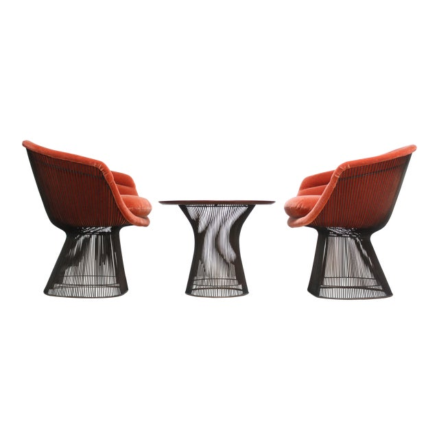 Pair of Warren Platner for Knoll Bronze and Mohair Lounge Chairs With Side Table For Sale