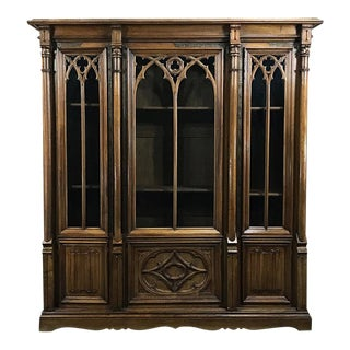 19th Century Gothic Walnut Triple Bookcase For Sale